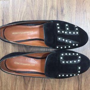 Rebecca Minkoff Love Black Suede Tuxedo Flats